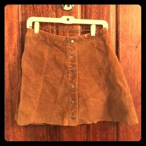 Suede Brown Button Down Skirt